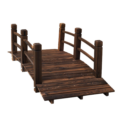 Outsunny 5ft Wooden Garden Bridge with Railings